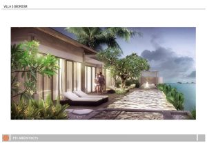 Ilustrasi villa dan sky villa Bali Sixsenses - villa 3 bedroom